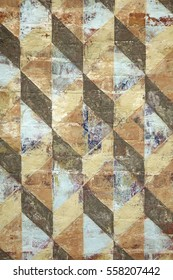 Surface Of Old Plastered Wall With Colorful Black Brown Beige White Geometrical Architecture Symmetrical Rhombus Or Diaper Repeated Pattern Vertical Background Texture Wallpaper