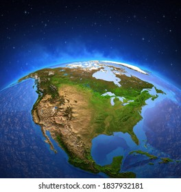 Surface of Planet Earth viewed from a satellite, focused on North America. Physical map of The United States USA and Canada. 3D illustration - Elements of this image furnished by NASA.