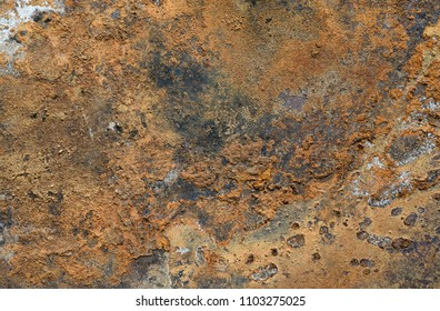 Surface of rusty metal with traces of corrosion and dirt