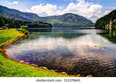 Surface view of Alpsee lake, Bayern, Germany