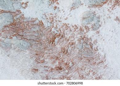 Surface of white travertines in Pamukkale, Turkey
