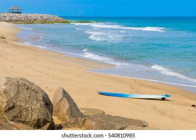 Surfboard on the beach/Surfs up