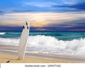 Surfboard on Fuerteventura beach