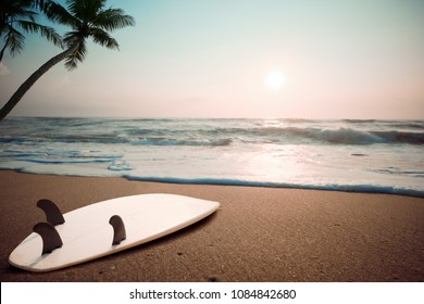 Surfboard on tropical beach at sunset in summer. landscape of summer beach and palm tree at sunset. Vintage color tone