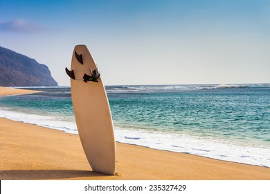 Surfboard on the wild beach with nobody