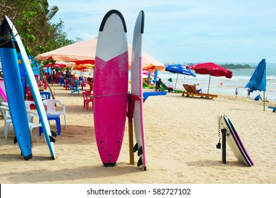 Surfboards and funboards on the beach of Kuta, Bali island, Indonesia
