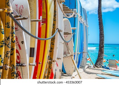 Surfboards in the Hawaiian sun near Waikiki