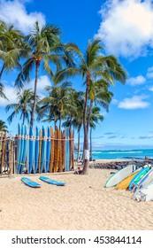 Surfboards on the sandy Waikiki beach with palm trees and a deep blue sky.