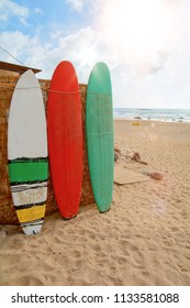 Surfboards at Praia do Amado, Beach and Surfer spot, Algarve Portugal Europe