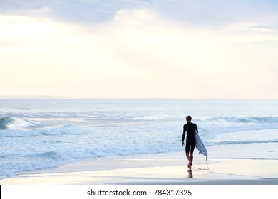 Surfer about to surf
