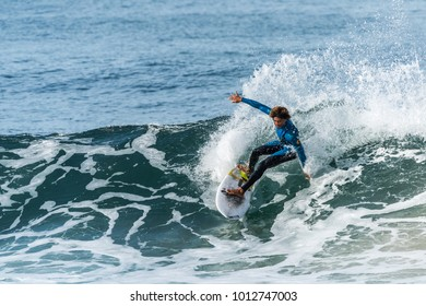 Surfer cutting back on wave. Taken on January 21, 2018. Location Veterans Park Redondo Beach, California.