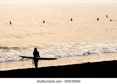 surfer at Enoshima beach,tokyo,tourism of japan