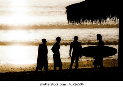 surfer and friends silhouette