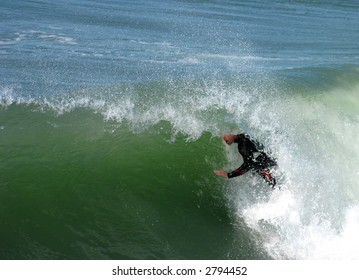 Surfer Gets Barrelled in Southern California Surf