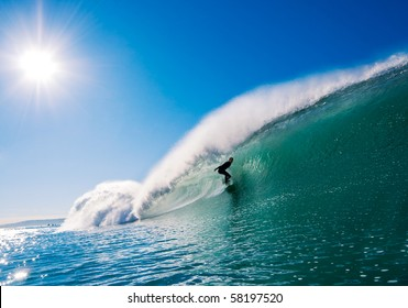 Surfer getting Barreled in California