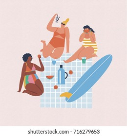Surfer girls are having picnic on the beach. Summer illustration.