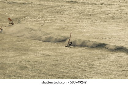 Surfer landscape on the beach