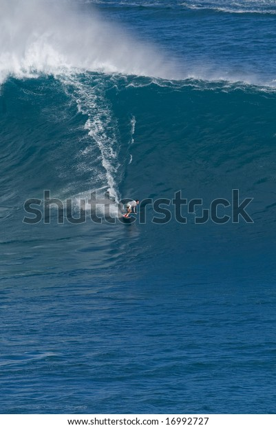 Surfer On Giant Wave Jaws Maui Stock Photo Edit Now 16992727