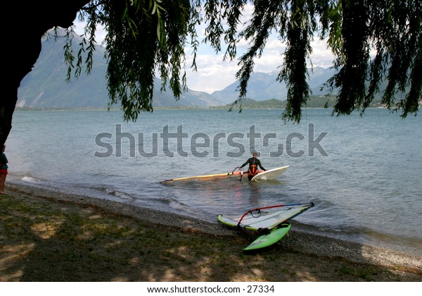 surfer on Lake Como