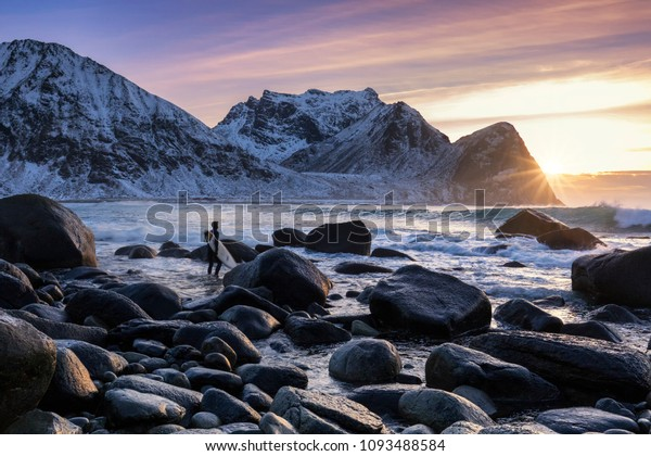 Surfer on the lofoten islands