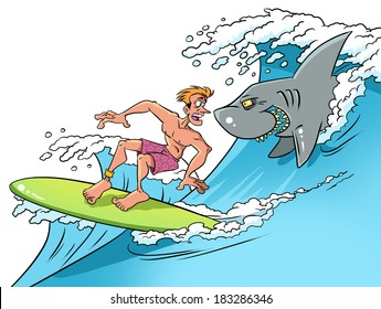 Surfer on ocean wave and smiling shark