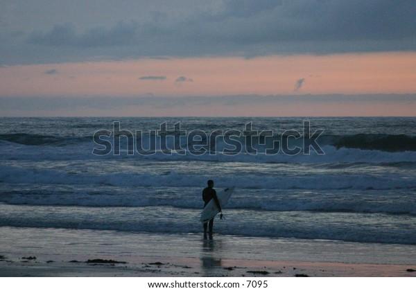 surfer preparing to enter
