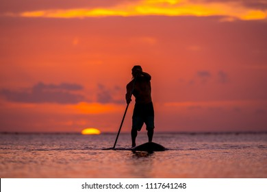 surfer rides by paddle board (S.U.P.) in the ocean against the background of a large disk of the setting sun