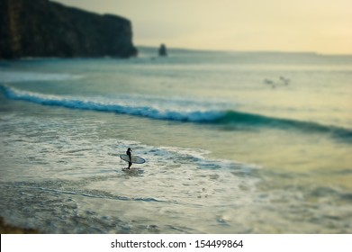 A surfer in the sea