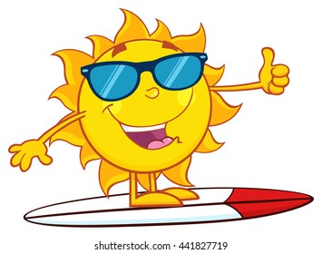 Surfer Sun Cartoon Mascot Character With Sunglasses And Showing Thumb Up. Raster Illustration Isolated On White Background