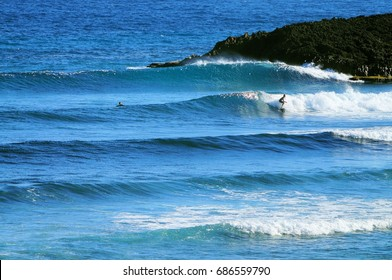 Surfer surfing waves in Puerto Rico with blue water and reef.