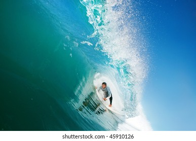 Surfer in the Tube, Big Ocean Wave