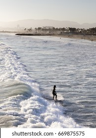 A surfer wearing a black wet suit riding a wave during sunset along the coast of southern California, USA with palm trees and Santa Monica Beach in the background.