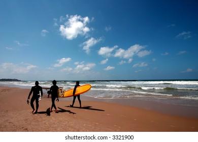 Surfers on tropical beach