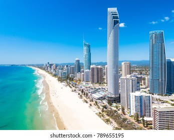 Surfers Paradise aerial view on a clear day on the Gold Coast with blue water - Shutterstock ID 789655195