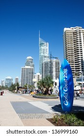 SURFERS PARADISE - APRIL 28: The 2018 Commonwealth Games countdown clock shaped as a surfboard is four meters tall and stands at the beach end of Cavill Ave. March 28, 2013 Surfers Paradise, Australia