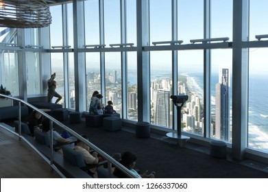 SURFERS PARADISE, AUS - DEC 18 2018:View of Gold Coast from Skypoint Q1 tourist attraction in Surfers Paradise, Gold Coast, Queensland, Australia