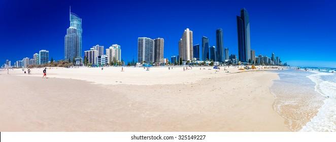 SURFERS PARADISE, AUS - OCT 03 2015 Skyline and a beach of Surfers Paradise, Gold Coast. It one of Australia's iconic coastal tourist destinations.