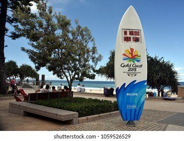 Surfers Paradise, Australia - Dec 27, 2017. A surfboard themed countdown clock on Surfers Paradise, counting down to the 2018 Gold Coast Commonwealth Games.