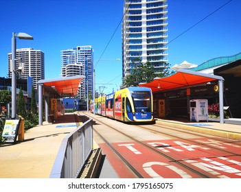 Surfers Paradise, Australia: March 21, 2020: Tram arrives at a stop in Surfers Paradise. G:link, also known as the Gold Coast Light Rail, is a light rail system serving the Gold Coast in Queensland