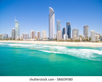 Surfers Paradise beach on a clear day on the Gold Coast, Queensland, Australia