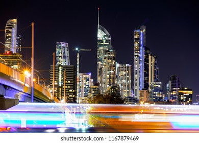 Surfers Paradise citycape with boat light trails passing under the Sundale bridge