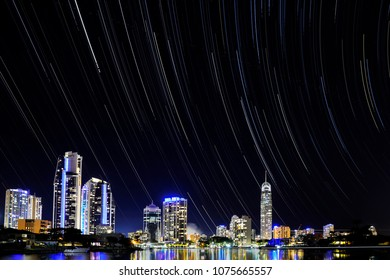 Surfers Paradise cityscape with star trials in the night sky