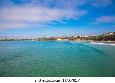 Surfers paradise in Cornwall with beautiful emerald green water