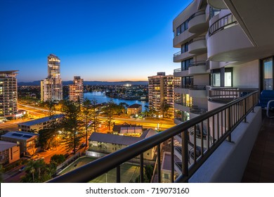 Surfers Paradise, Gold Coast, Australia - Aug 11, 2017:  View of the city from the balcony