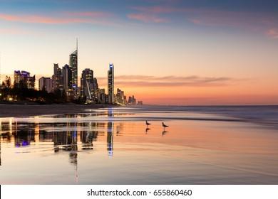 Surfers Paradise high rises at sunset, Gold Coast, Australia