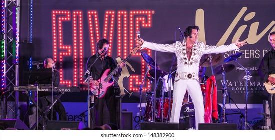 "SURFERS PARADISE - JULY 13:An unidentified singer on concert "" Elvis Viva Surfers Paradise "" Saturday July 13, 2013 Surfers Paradise Queensland Australia."