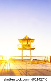Surfers Paradise lifeguard tower at sunrise