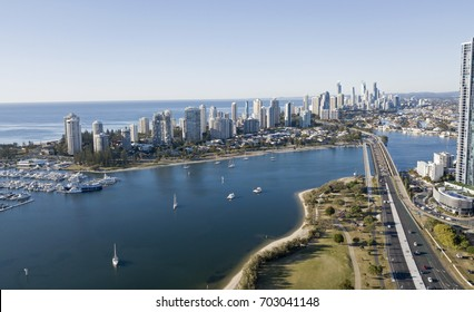 Surfers Paradise and the Narang river, Queensland, Australia.