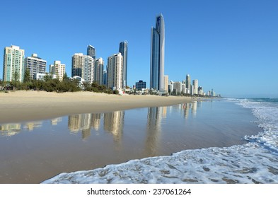 SURFERS PARADISE - NOV 08 2014 Surfers Paradise skyline.It one of Australia's iconic coastal tourist destinations, drawing 10 million tourists every year from all over the world.