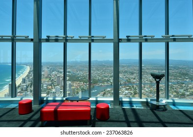 SURFERS PARADISE - NOV 14 2014:Q1 building Skypoint observation deck.It located 230 metres (750 ft) off the ground at the top of the Q1 on the Gold Coast, Australia.